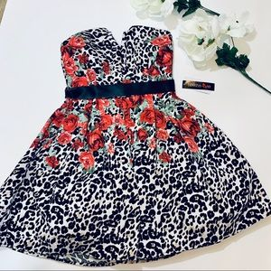 NEW TEEZE ME Party Dress Floral Leopard